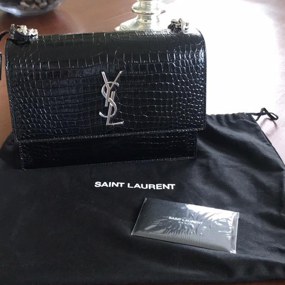 676d87666d3 Yves Saint Laurent Bags | Ysl Medium Sunset In Black Croc Leather ...